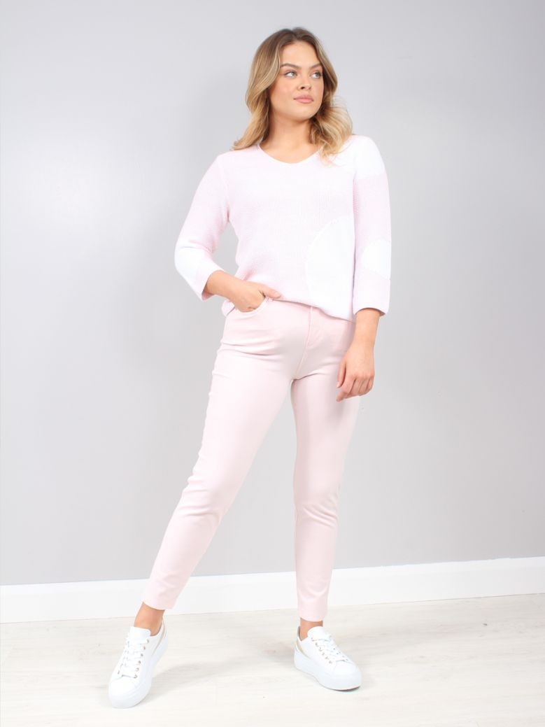 Marble Pale Pink High Rise Stretch Jeans