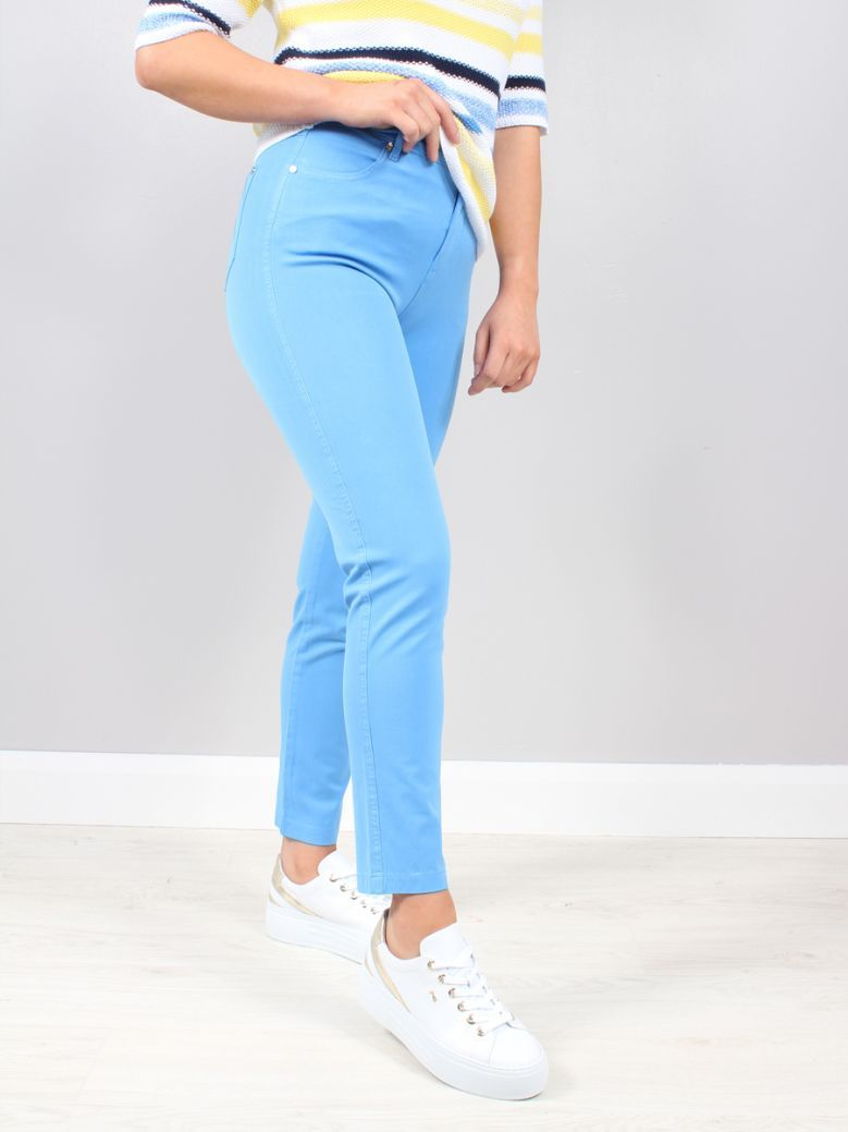 Marble Blue High Rise Stretch Jeans
