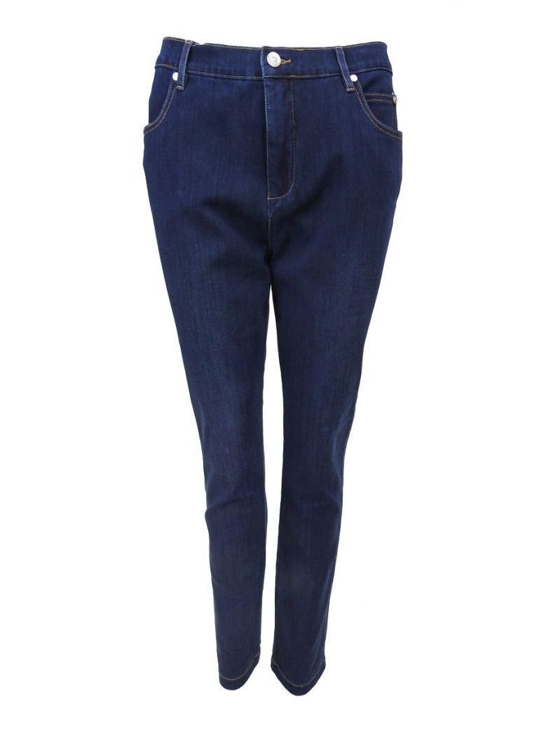 Marble Dark Blue Denim Ankle Grazer Skinny Jeans