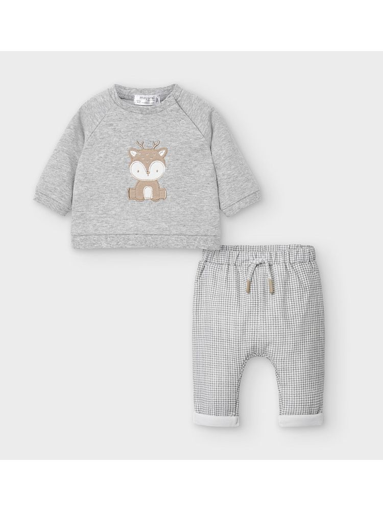 Mayoral Grey & Check Deer Sweatshirt & Trouser Set