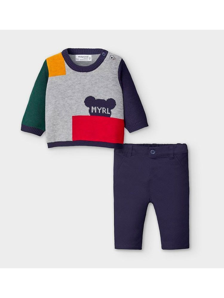 Mayoral Colour Block Knitted Jumper & Trouser Set