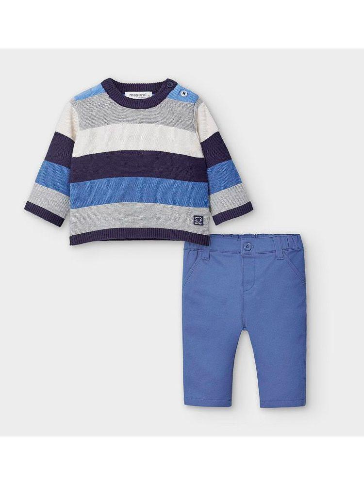 Mayoral Blue Stripe Knitted Jumper & Trouser Set