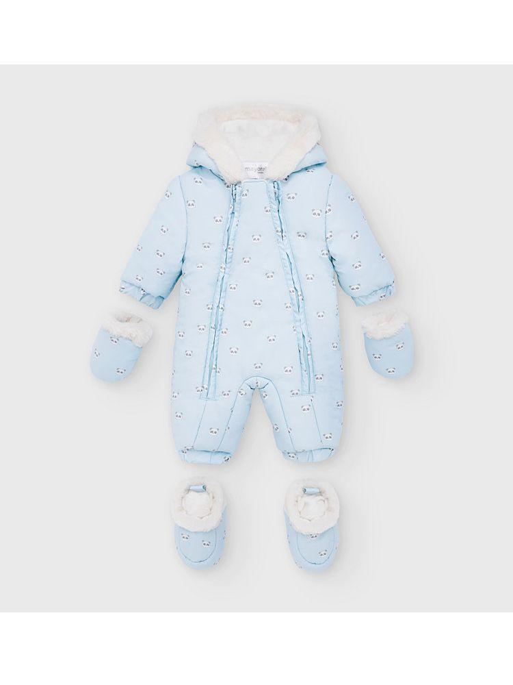 Mayoral Blue Panda Pattern Microfiber Snow Suit