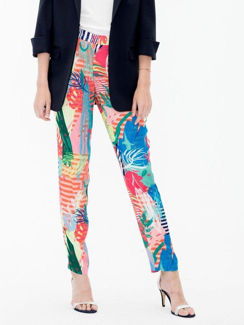 Vilagallo Multi Saona Print Straight Leg Trousers
