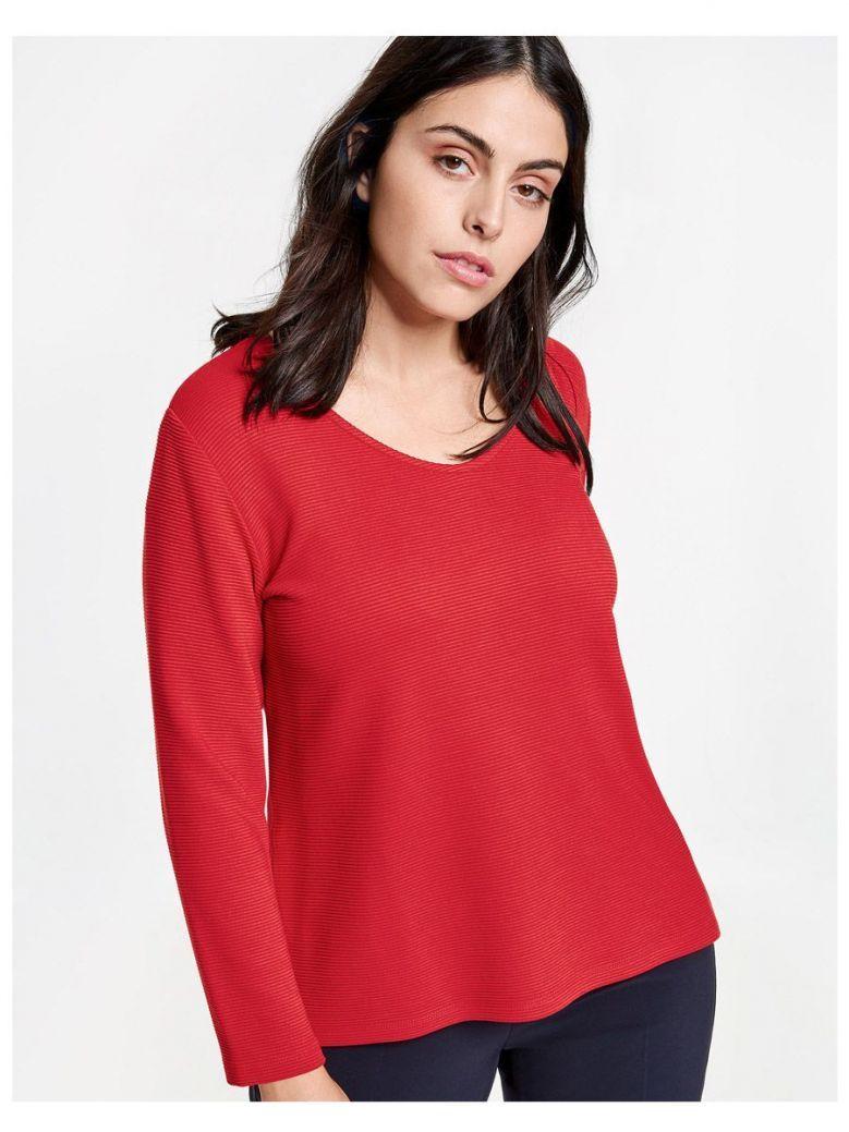 Samoon Red Ribbed Long Sleeve Top