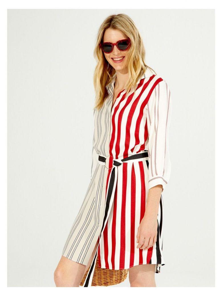 Vilagallo Cream Multi Striped Shirt Dress