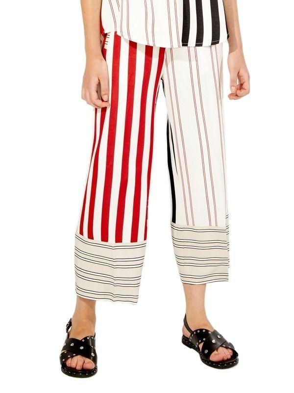 Vilagallo Sandra Cream and Red Stripe Culottes