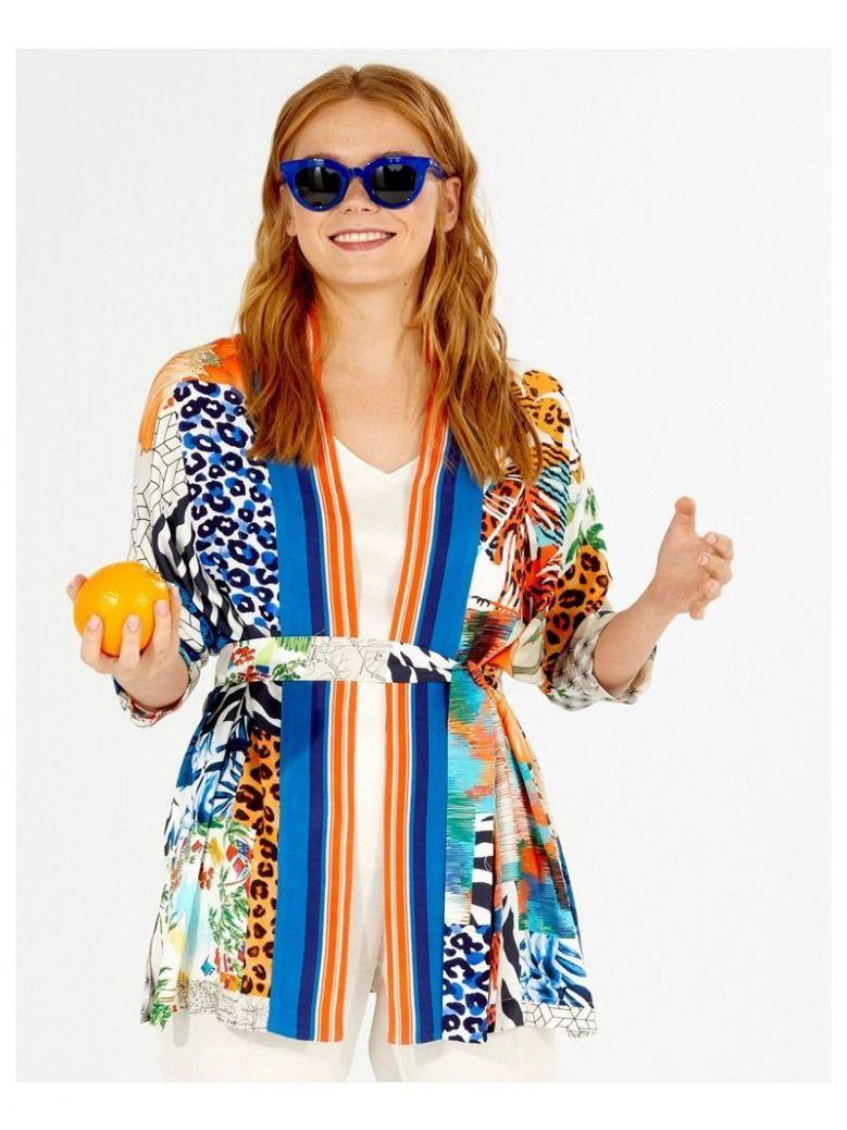 Vilagallo Blue Multi Printed Kimono