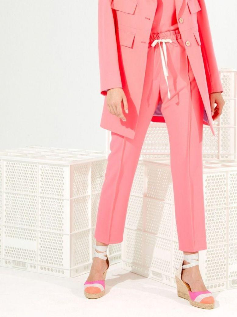 Vilagallo Neon Pink Drawstring Waist Trousers