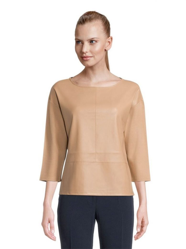 Betty Barclay Camel Leather Look Top