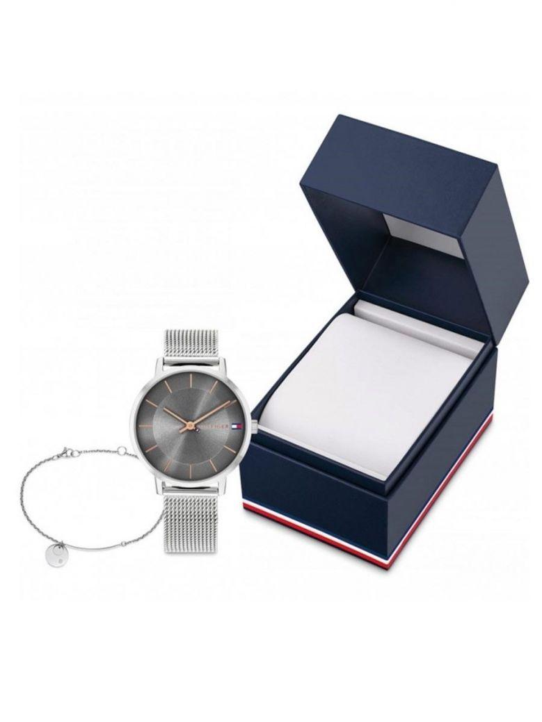 Tommy Hilfiger Silver Ladies Pippa Gift Set Wristwatch And Bracelet