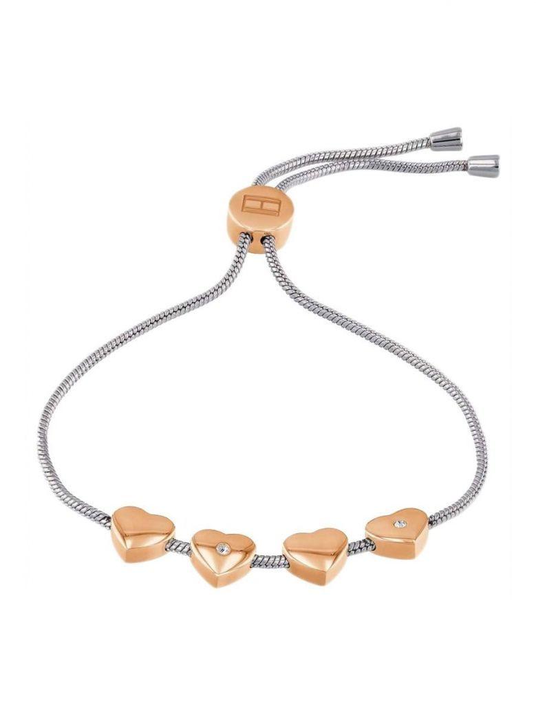 Tommy Hilfiger Silver & Rose Gold Heart Charm Bracelet