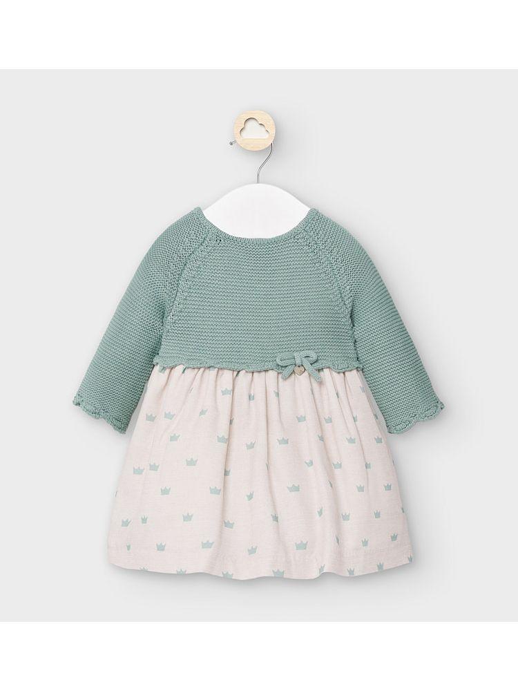 Mayoral Green Crown Print Knit Dress
