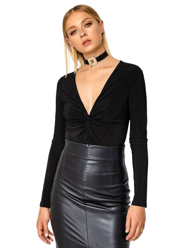 SPELL Black Long Sleeve Knot Detail Bodysuit