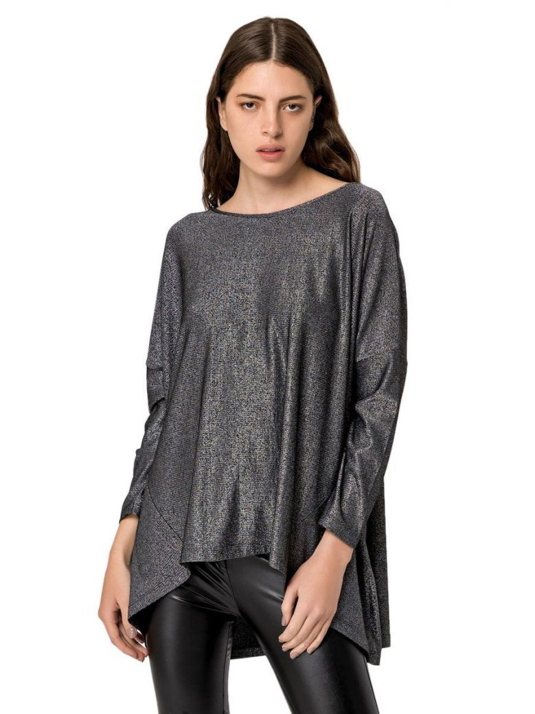 Eight By Access Silver Glitter Long Sleeve Dipped Hem Top
