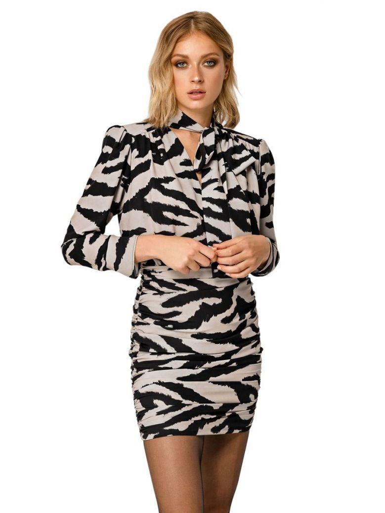 Access Fashion Animal Print Ruched Bodycon Dress