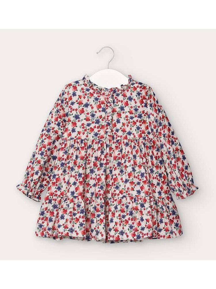 Mayoral Blue and Red Floral Patterned Dress