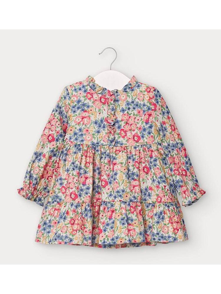 Mayoral Coral and Blue Floral Patterned Dress