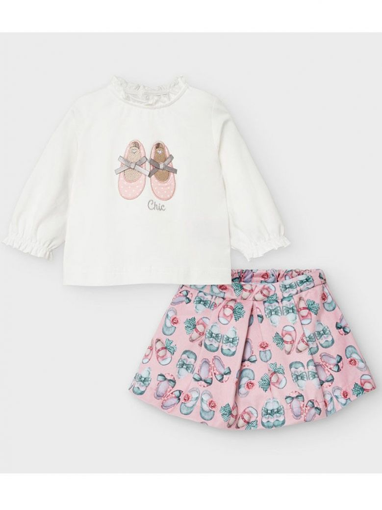 Mayoral Pink Shoe Print Top & Skirt Outfit