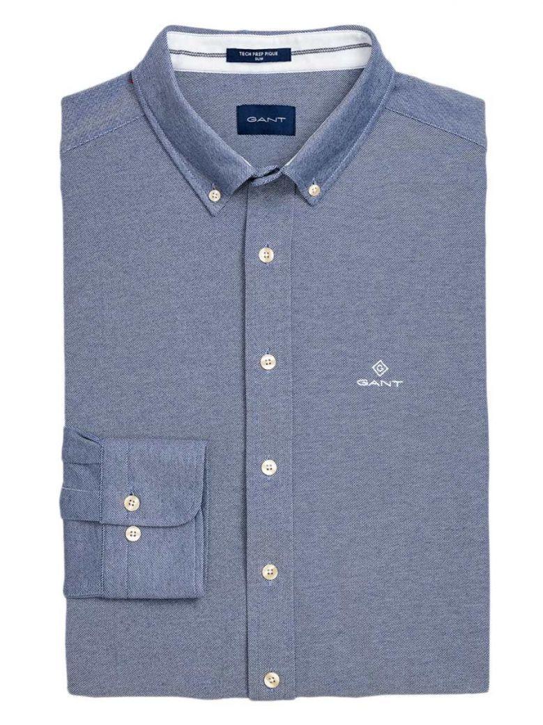 Gant Persian Blue Slim Fit Tech Prep Piqué Shirt