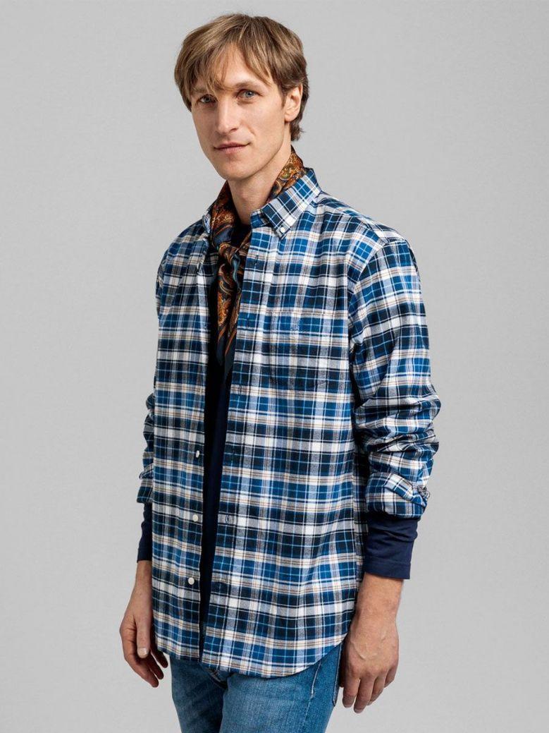 Gant Blue Regular Fit Plaid Brushed Oxford Shirt