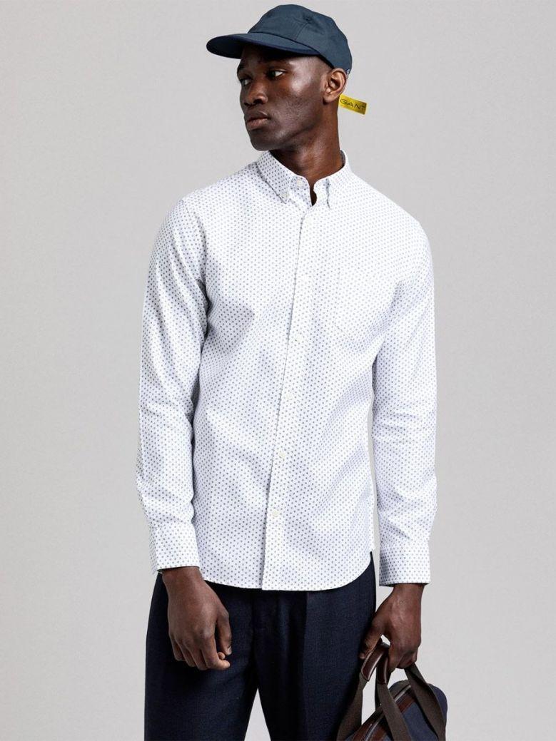 Gant White Regular Fit Geometric Floral Print Shirt