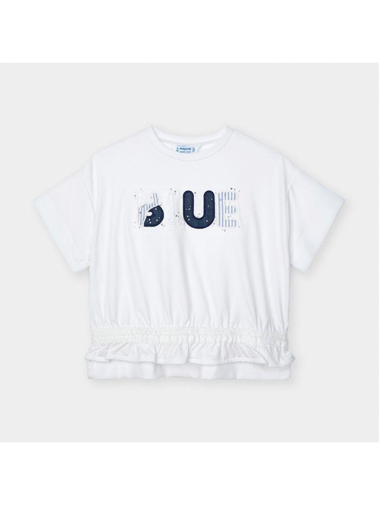 Mayoral Ink Short Sleeved Appliqué Blue T-Shirt