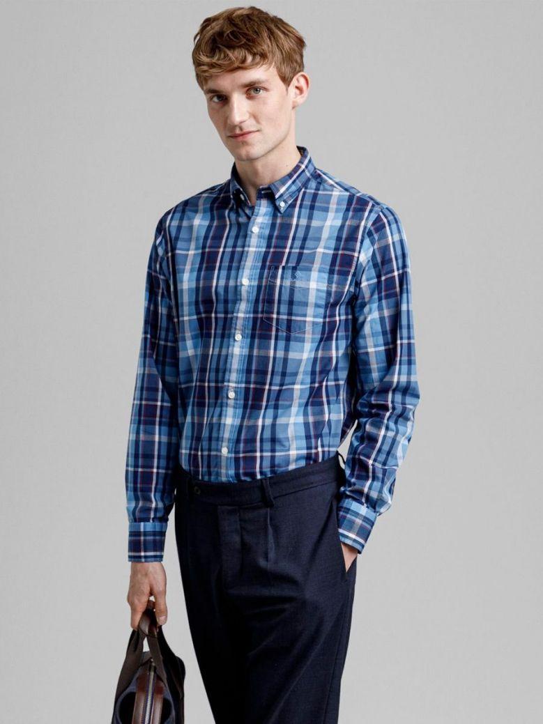 Gant Pacific Blue Regular Fit Tech Prep Indigo Madras Shirt