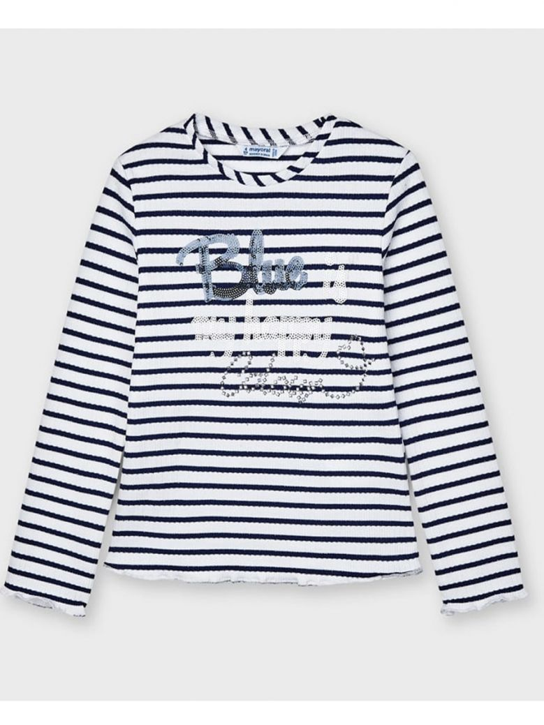 Mayoral Navy Striped Ribbed L/S Top