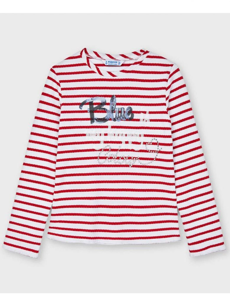 Mayoral Red Striped Ribbed L/S Top