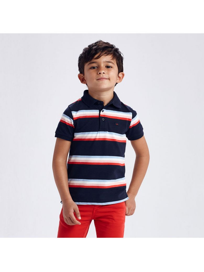 Mayoral Navy Blue Striped Polo Shirt