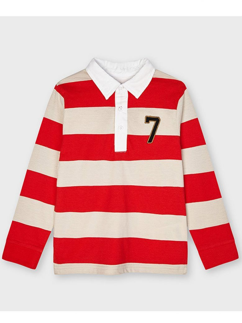 Mayoral Red Stripe L/S Polo Shirt