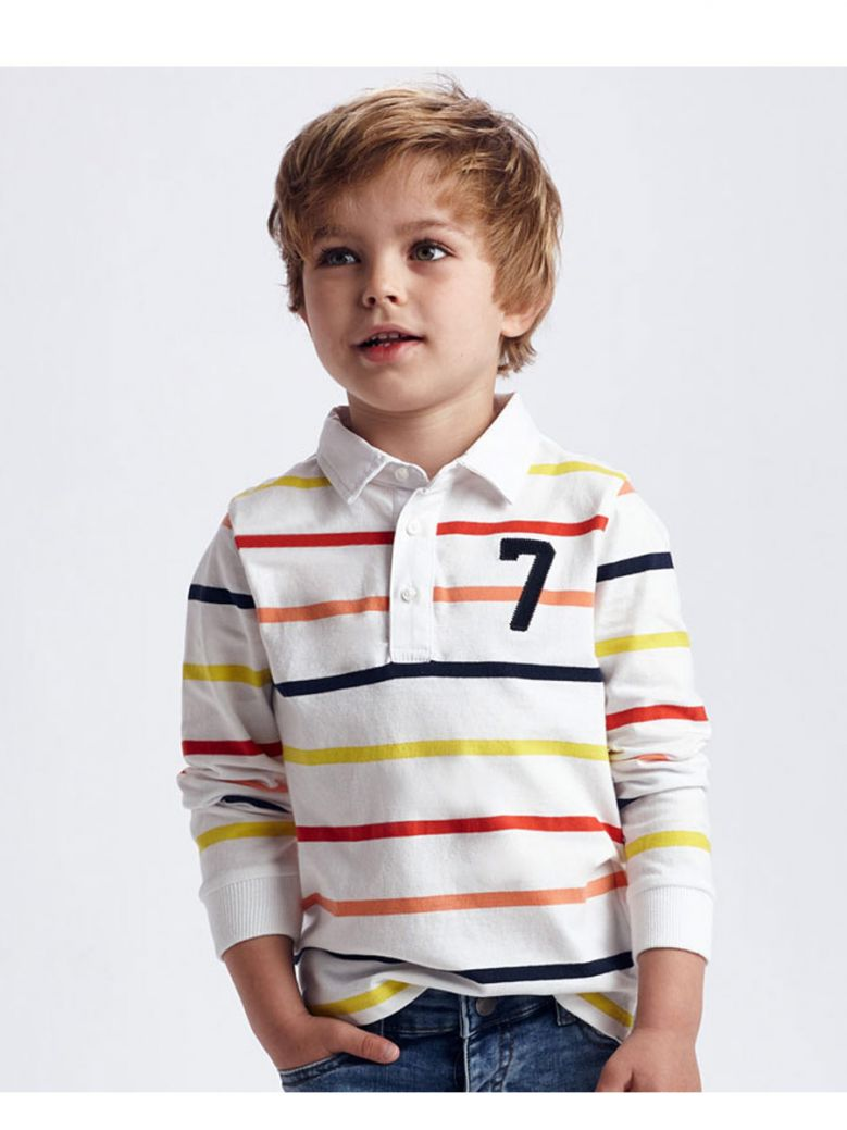 Mayoral White/Multi Stripe L/S Polo Shirt