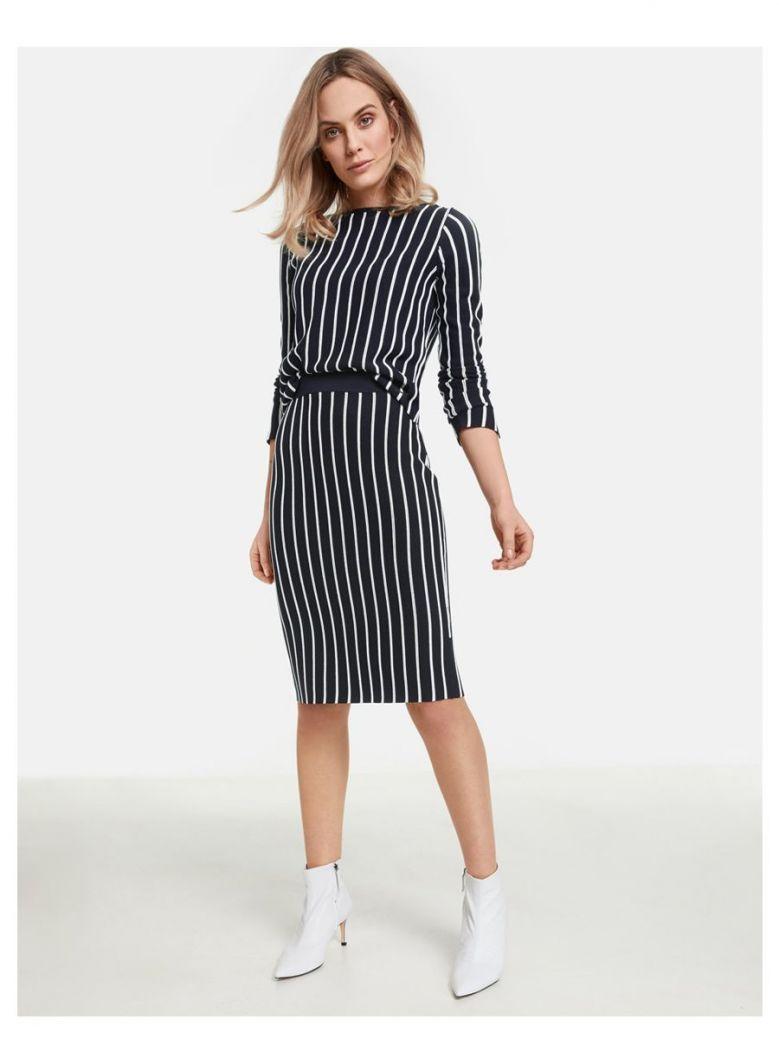 Taifun Navy Vertical Stripe Skirt