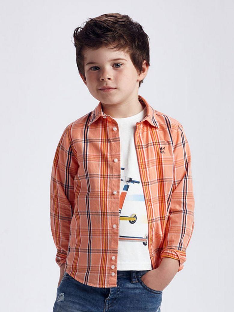 Mayoral Orange Large Check Shirt