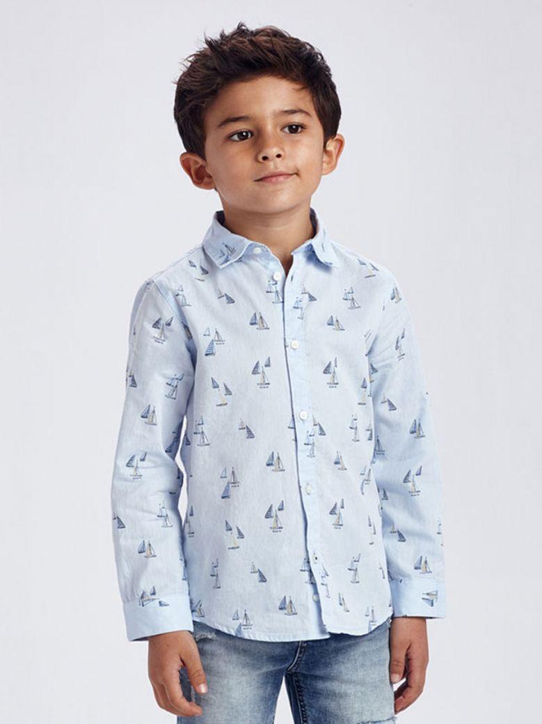Mayoral Sky Blue Long Sleeved Print Shirt