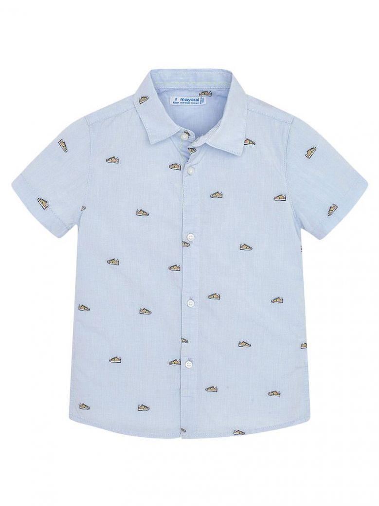 Mayoral Sky Blue Shoe Print Short Sleeve Shirt
