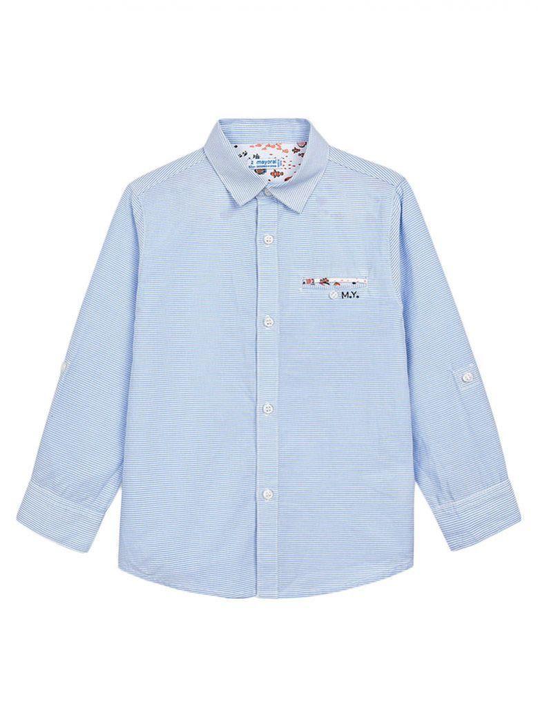 Mayoral Sky Blue Pinstripe Shirt