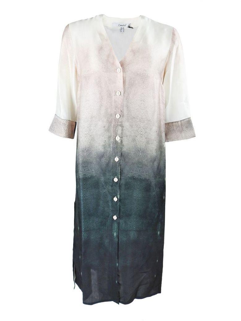 Camelot Pink Multi 3/4 Sleeve V-Neck Button Dress