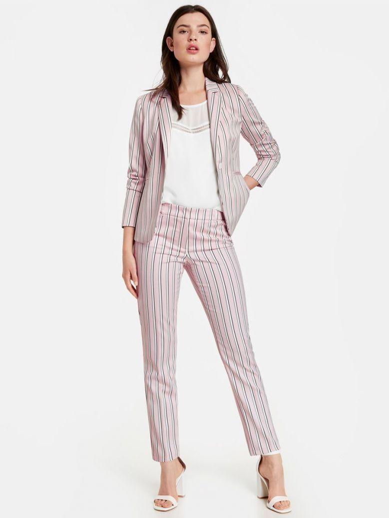 Taifun Pink Slim Peg Leg Stripe Trousers