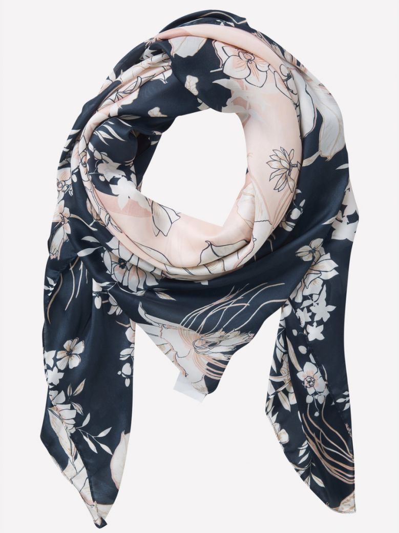Betty Barclay Navy Floral Print Scarf