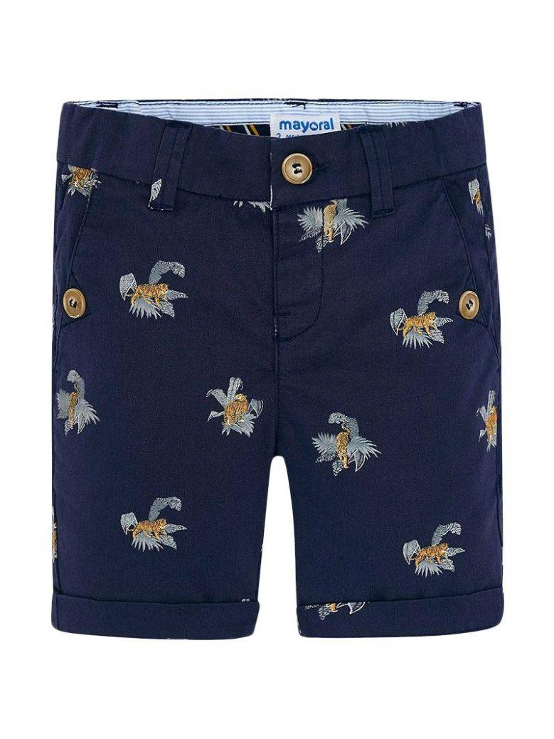 Mayoral Navy Blue Tiger Print Shorts