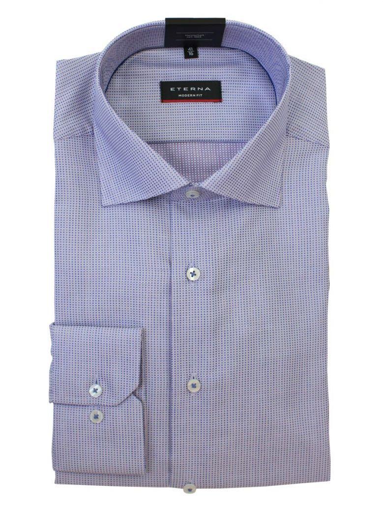 Eterna Blue/Multi Long Sleeved Modern Fit Structured Shirt