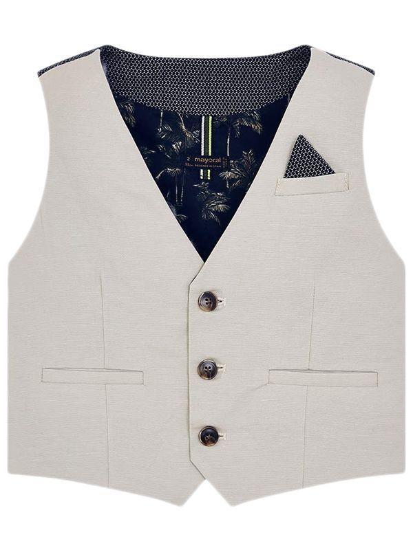 Mayoral Stone Linen Suit Waistcoat