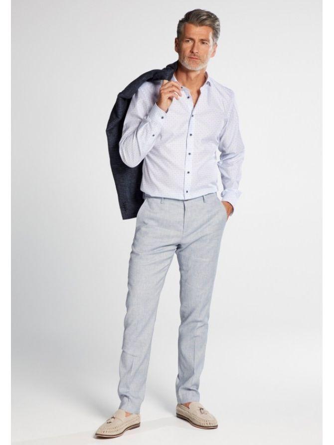 Eterna Blue Slim Fit Geo Print Shirt