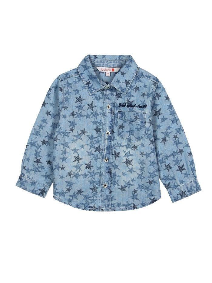 Boboli Blue Denim Star Print Shirt