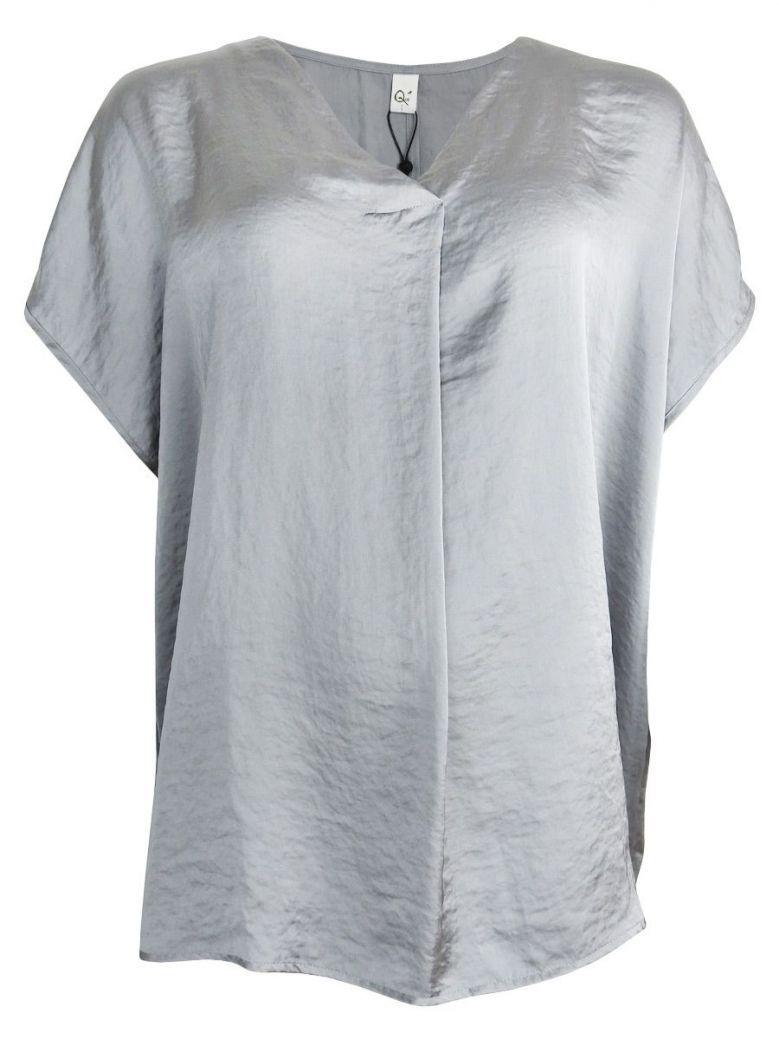 Que Grey Relaxed V-neck Top