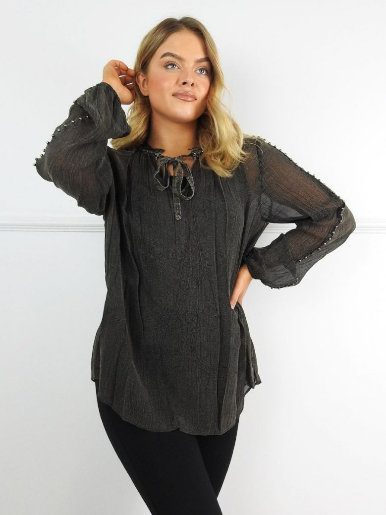 Que Charcoal Sheer Studded Blouse