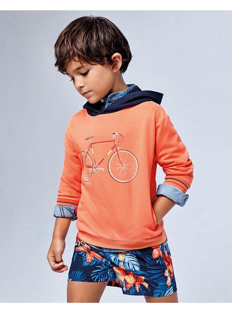 Mayoral Orange Bicycle Print Hooded Top