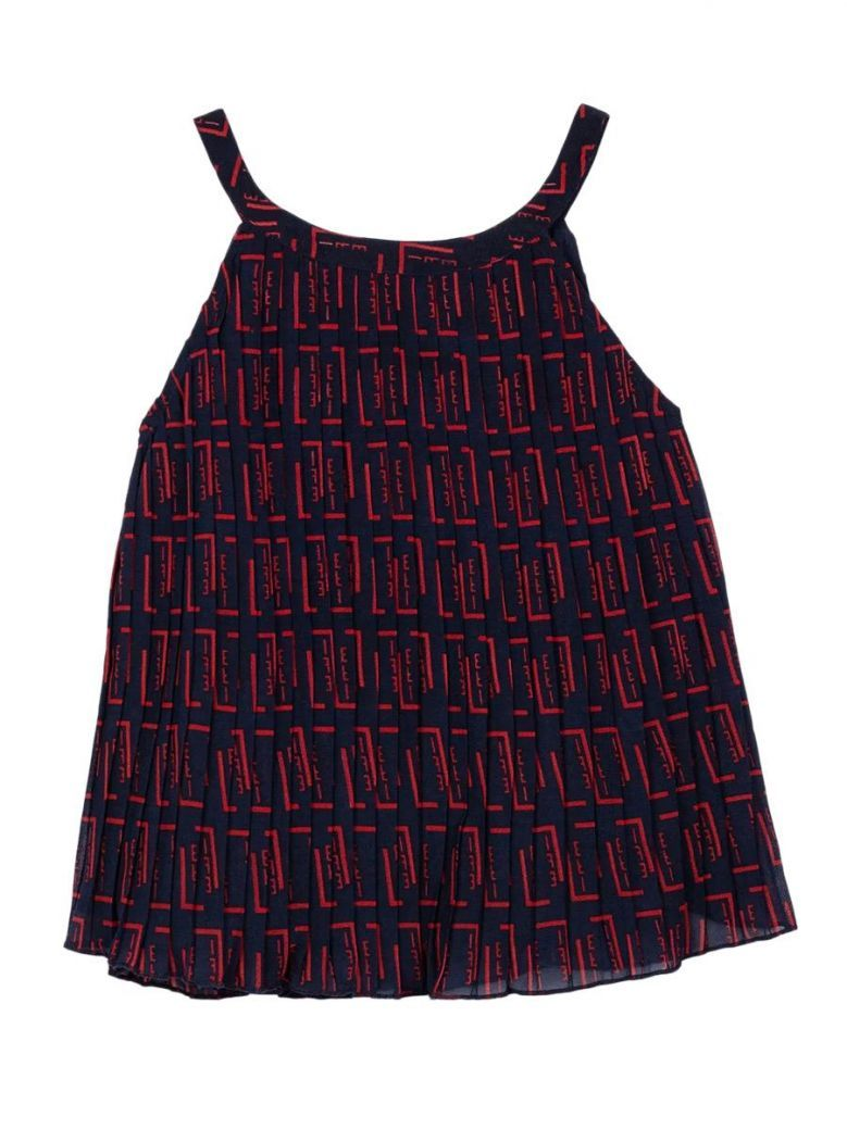 Tiffosi Navy & Red Pleated Printed Vest Top